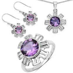 7.07 Carat Genuine Amethyst .925 Sterling Silver Ring, Pendant and Earrings Set