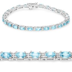 8.84 Carat Genuine Blue Zircon and Topaz White .925 Sterling Silver Bracelet
