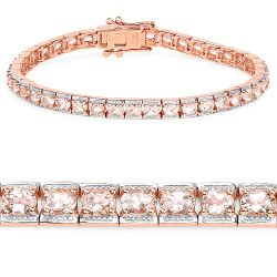 14K Rose Gold Plated 6.00 Carat Genuine Morganite .925 Sterling Silver Bracelet