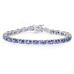 9.53 Carat Genuine Tanzanite and White Diamond 14K White Gold Bracelet