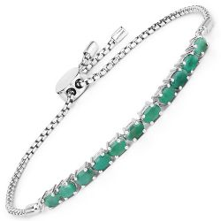 2.20 Carat Genuine Emerald Sterling Silver Bracelet