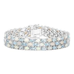 22.28 Carat Genuine Opal and Blue Topaz .925 Sterling Silver Bracelet