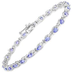 3.36 Carat Genuine Tanzanite .925 Sterling Silver Bracelet