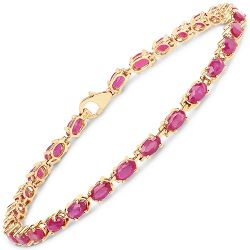 14K Yellow Gold Plated 7.00 Carat Glass Filled Ruby .925 Sterling Silver Bracelet