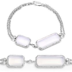 14.45 Carat Genuine White Agate and White Topaz .925 Sterling Silver Bracelet