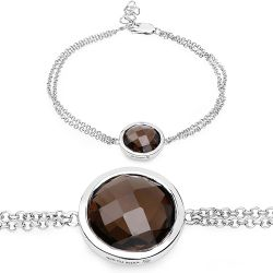 8.10 Carat Genuine Smoky Quartz .925 Sterling Silver Bracelet