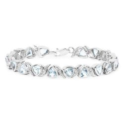 10.03 Carat Genuine Blue Topaz and White Topaz .925 Sterling Silver Bracelet
