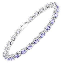 6.25 Carat Genuine Tanzanite .925 Sterling Silver Bracelet