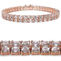 14K Rose Gold Plated 12.00 Carat Genuine Morganite .925 Sterling Silver Bracelet