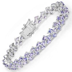13.72 Carat Genuine Tanzanite .925 Sterling Silver Bracelet