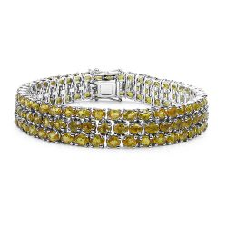 32.75 Carat Genuine Yellow Sapphire .925 Sterling Silver Bracelet
