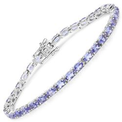 8.75 Carat Genuine Tanzanite .925 Sterling Silver Bracelet