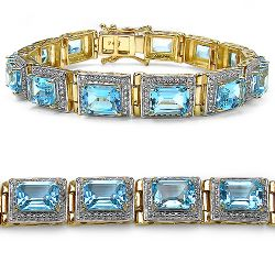 14K Yellow Gold Plated 24.05 Carat Genuine Blue Topaz .925 Sterling Silver Bracelet