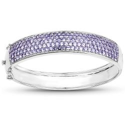 10.29 Carat Genuine Tanzanite .925 Sterling Silver Bangle