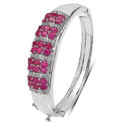 7.50 ct. t.w. Ruby and White Topaz Bangle in Sterling Silver