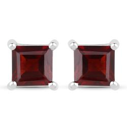 1.66 Carat Genuine Garnet .925 Sterling Silver Earrings