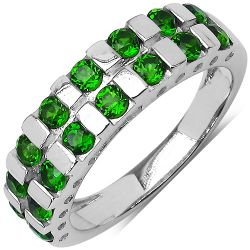 1.26 Carat Genuine Chrome Diopside .925 Sterling Silver Ring