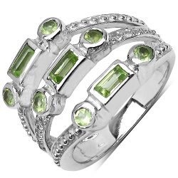 0.95 Carat Genuine Peridot & White Topaz .925 Sterling Silver Ring