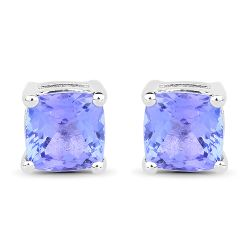 1.10 Carat Genuine Tanzanite .925 Sterling Silver Earrings