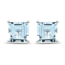 1.62 Carat Genuine Aquamarine .925 Sterling Silver Earrings