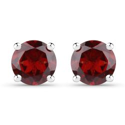 1.96 Carat Genuine Garnet .925 Sterling Silver Earrings