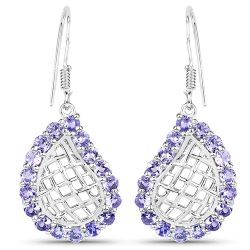 3.40 Carat Genuine Tanzanite .925 Sterling Silver Earrings