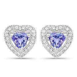 1.18 Carat Genuine Tanzanite & White Topaz .925 Sterling Silver Earrings