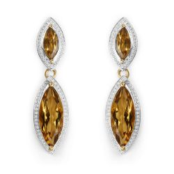 14K Yellow Gold Plated 8.50 Carat Genuine Champagne Quartz .925 Sterling Silver Earrings