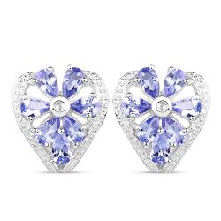 2.97 Carat Genuine Tanzanite & White Topaz .925 Sterling Silver Earrings
