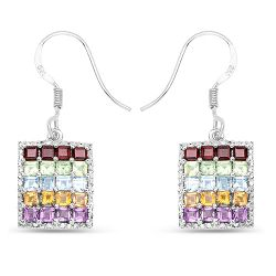 4.32 Carat Genuine Multi Stones .925 Sterling Silver Earrings