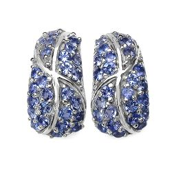 1.79 Carat Genuine Tanzanite .925 Sterling Silver Earrings
