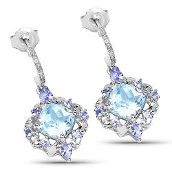 5.58 Carat Genuine Blue Topaz and Tanzanite .925 Sterling Silver Earrings