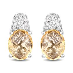 4.85 Carat Genuine Citrine and White Diamond .925 Sterling Silver Earrings