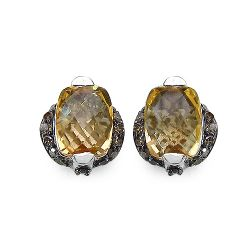 3.14 Carat Genuine Citrine & Black Diamond .925 Streling Silver Earrings