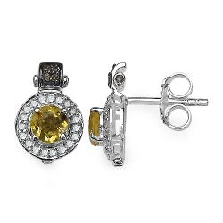 1.00 Carat Genuine Citrine and 0.31 ct.t.w Genuine Diamond Accents Sterling Silver Earrings