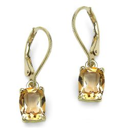 14K Yellow Gold Plated 4.08 Carat Genuine Crystal Quartz Sterling Silver Earrings