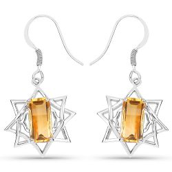 5.95 Carat Genuine Citrine .925 Sterling Silver Earrings