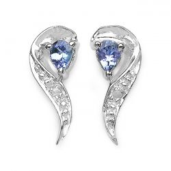 0.29 Carat Genuine Tanzanite & White Diamond .925 Sterling Silver Earrings