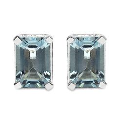 1.04 Carat Genuine Aquamarine .925 Sterling Silver Earrings