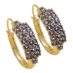 14K Yellow Gold Plated 2.10 Carat Genuine Tanzanite .925 Streling Silver Earrings