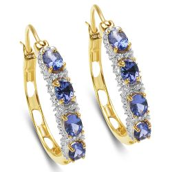 18K Yellow Gold Plated 1.36 Carat Genuine Tanzanite .925 Sterling Silver Earrings