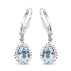 1.51 Carat Genuine Aquamarine and White Topaz .925 Sterling Silver Earrings