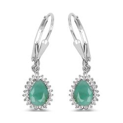 1.45 Carat Genuine Emerald and White Topaz .925 Sterling Silver Earrings
