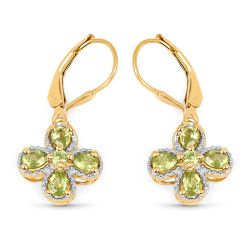 14K Yellow Gold Plated 1.42 Carat Genuine Peridot .925 Sterling Silver Earrings