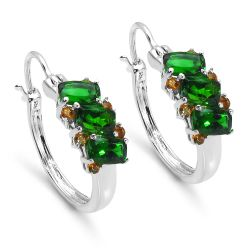 3.06 Carat Genuine Chrome Diopside & Citrine .925 Sterling Silver Earrings