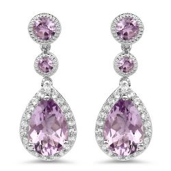 7.16 Carat Genuine Pink Amethyst and White Topaz .925 Sterling Silver Earrings