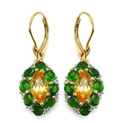 14K Yellow Gold Plated 4.72 Carat Genuine Citrine, Chrome Diopside & White Topaz .925 Sterling Silver Earrings