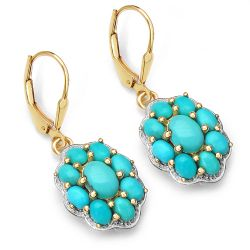 14K Yellow Gold Plated 4.00 Carat Genuine Turquoise .925 Sterling Silver Earrings