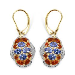 14K Yellow Gold Plated 2.22 Carat Genuine Tanzanite, Citrine & White Topaz .925 Sterling Silver Earrings