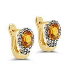 18K Yellow Gold Plated 1.99 Carat Genuine Citrine & White Topaz .925 Sterling Silver Earrings